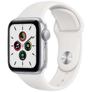 Apple Watch SE(GPSモデル)- 40mmシルバーアルミニウムケースとホワイトスポーツバンド - レギュラー MYDM2J/A [SE /40mm /アルミニウム /スポーツバンド /シルバー /GPS]