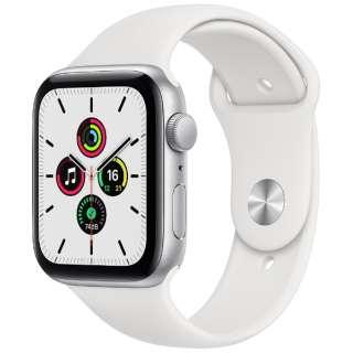 Apple Watch SE(GPSモデル)- 44mmシルバーアルミニウムケースとホワイトスポーツバンド - レギュラー MYDQ2J/A [SE /44mm /アルミニウム /スポーツバンド /シルバー /GPS]