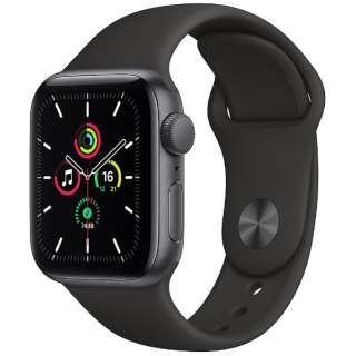 Apple Watch SE(GPSモデル)- 40mmスペースグレイアルミニウムケースとブラックスポーツバンド - レギュラー MYDP2J/A [SE /40mm /アルミニウム /スポーツバンド /スペースグレイ /GPS]