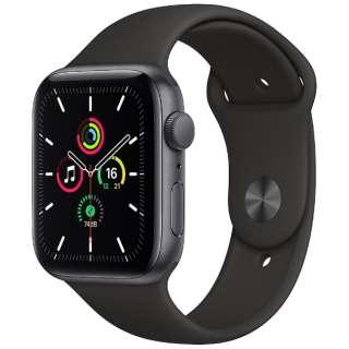 Apple Watch SE(GPSモデル)- 44mmスペースグレイアルミニウムケースとブラックスポーツバンド - レギュラー MYDT2J/A [SE /44mm /アルミニウム /スポーツバンド /スペースグレイ /GPS]