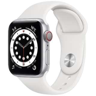 Apple Watch Series 6(GPS + Cellularモデル)- 40mmシルバーアルミニウムケースとホワイトスポーツバンド - レギュラー M06M3J/A