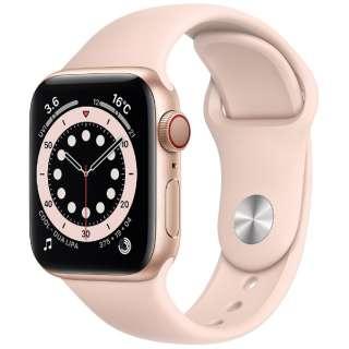 Apple Watch Series 6(GPS + Cellularモデル)- 40mmゴールドアルミニウムケースとピンクサンドスポーツバンド - レギュラー M06N3J/A [Series6 /40mm /アルミニウム /スポーツバンド /ゴールド /GPS+Cellular]