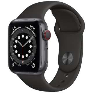 Apple Watch Series 6(GPS + Cellularモデル)- 40mmスペースグレイアルミニウムケースとブラックスポーツバンド - レギュラー M06P3J/A [Series6 /40mm /アルミニウム /スポーツバンド /スペースグレイ /GPS+Cellular]