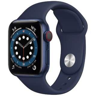 Apple Watch Series 6(GPS + Cellularモデル)- 40mmブルーアルミニウムケースとディープネイビースポーツバンド - レギュラー M06Q3J/A