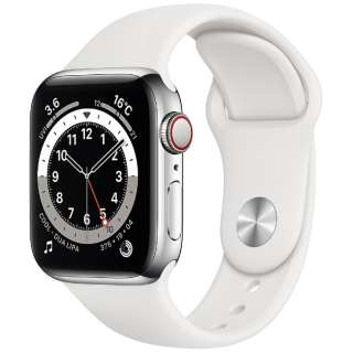 Apple Watch Series 6(GPS + Cellularモデル)- 40mmシルバーステンレススチールケースとホワイトスポーツバンド - レギュラー M06T3J/A