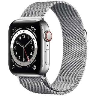 Apple Watch Series 6(GPS + Cellularモデル)- 40mmシルバーステンレススチールケースとシルバーミラネーゼループ M06U3J/A [Series6 /40mm /ステレンススチール /ミラネーゼループ /シルバー /GPS+Cellular]