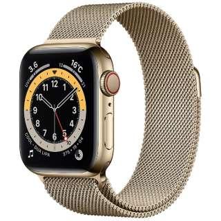 Apple Watch Series 6(GPS + Cellularモデル)- 40mmゴールドステンレススチールケースとゴールドミラネーゼループ M06W3J/A [Series6 /40mm /ステレンススチール /ミラネーゼループ /ゴールド /GPS+Cellular]