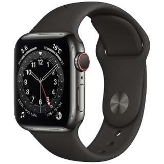 Apple Watch Series 6(GPS + Cellularモデル)- 40mmグラファイトステンレススチールケースとブラックスポーツバンド - レギュラー M06X3J/A [Series6 /40mm /ステレンススチール /スポーツバンド /GPS+Cellular]