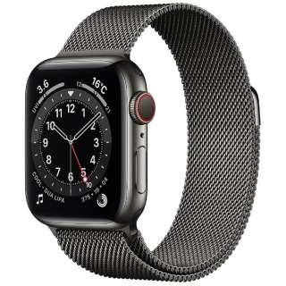 Apple Watch Series 6(GPS + Cellularモデル)- 40mmグラファイトステンレススチールケースとグラファイトミラネーゼループ M06Y3J/A [Series6 /40mm /ステレンススチール /ミラネーゼループ /GPS+Cellular]
