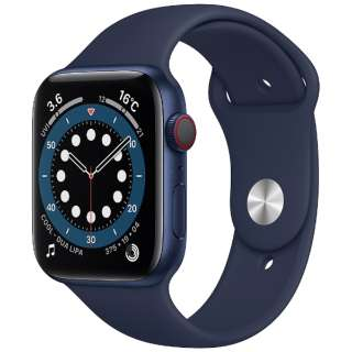 Apple Watch Series 6(GPS + Cellularモデル)- 44mmブルーアルミニウムケースとディープネイビースポーツバンド - レギュラー M09A3J/A [Series6 /44mm /アルミニウム /スポーツバンド /GPS+Cellular]