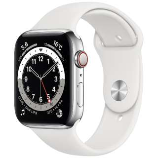 Apple Watch Series 6(GPS + Cellularモデル)- 44mmシルバーステンレススチールケースとホワイトスポーツバンド - レギュラー M09D3J/A [Series6 /44mm /ステレンススチール /スポーツバンド /シルバー /GPS+Cellular]