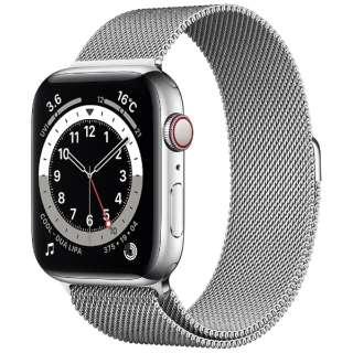 Apple Watch Series 6(GPS + Cellularモデル)- 44mmシルバーステンレススチールケースとシルバーミラネーゼループ M09E3J/A [Series6 /44mm /ステレンススチール /ミラネーゼループ /シルバー /GPS+Cellular]