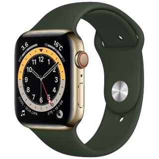 Apple Watch Series 6(GPS + Cellularモデル)- 44mmゴールドステンレススチールケースとキプロスグリーンスポーツバンド - レギュラー M09F3J/A [Series6 /44mm /ステレンススチール /スポーツバンド /ゴールド /GPS+Cellular]