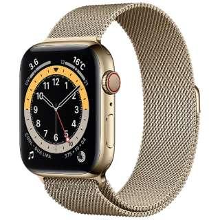 Apple Watch Series 6(GPS + Cellularモデル)- 44mmゴールドステンレススチールケースとゴールドミラネーゼループ M09G3J/A [Series6 /44mm /ステレンススチール /ミラネーゼループ /ゴールド /GPS+Cellular]