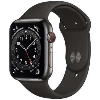 Apple Watch Series 6(GPS + Cellularモデル)- 44mmグラファイトステンレススチールケースとブラックスポーツバンド - レギュラー M09H3J/A [Series6 /44mm /ステレンススチール /スポーツバンド /GPS+Cellular]