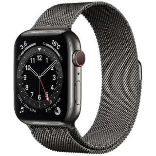 Apple Watch Series 6(GPS + Cellularモデル)- 44mmグラファイトステンレススチールケースとグラファイトミラネーゼループ M09J3J/A [Series6 /44mm /ステレンススチール /ミラネーゼループ /GPS+Cellular]