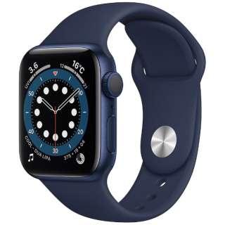Apple Watch Series 6(GPSモデル)- 40mmブルーアルミニウムケースとディープネイビースポーツバンド - レギュラー MG143J/A [Series6 /40mm /アルミニウム /スポーツバンド /GPS]