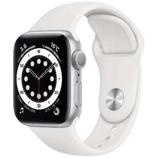 Apple Watch Series 6(GPSモデル)- 40mmシルバーアルミニウムケースとホワイトスポーツバンド - レギュラー MG283J/A [Series6 /40mm /アルミニウム /スポーツバンド /シルバー /GPS]