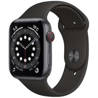 Apple Watch Series 6(GPS + Cellularモデル)- 44mmスペースグレイアルミニウムケースとブラックスポーツバンド - レギュラー MG2E3J/A [Series6 /44mm /アルミニウム /スポーツバンド /スペースグレイ /GPS+Cellular]