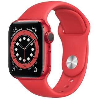 Apple Watch Series 6(GPSモデル)- 40mm (PRODUCT)REDアルミニウムケースと(PRODUCT)REDスポーツバンド - レギュラー M00A3J/A [Series6 /40mm /アルミニウム /スポーツバンド /GPS]