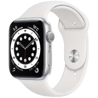 Apple Watch Series 6(GPSモデル)- 44mmシルバーアルミニウムケースとホワイトスポーツバンド - レギュラー M00D3J/A [Series6 /44mm /アルミニウム /スポーツバンド /シルバー /GPS]