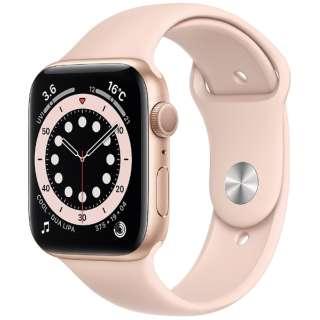 Apple Watch Series 6(GPSモデル)- 44mmゴールドアルミニウムケースとピンクサンドスポーツバンド - レギュラー M00E3J/A [Series6 /44mm /アルミニウム /スポーツバンド /ゴールド /GPS]