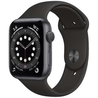 Apple Watch Series 6(GPSモデル)- 44mmスペースグレイアルミニウムケースとブラックスポーツバンド - レギュラー M00H3J/A [Series6 /44mm /アルミニウム /スポーツバンド /スペースグレイ /GPS]