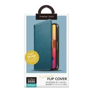 iPhone 12/12 Pro 6.1インチ対応フリップカバー PUレザーダメージ加工 ブルー Premium Style ブルー PG-20GFP01BL