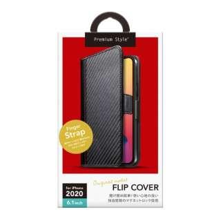 iPhone 12/12 Pro 6.1インチ対応フリップカバー PUレザーダメージ加工 カーボン調ブラック Premium Style カーボン調ブラック PG-20GFP04BK
