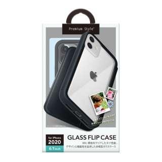 iPhone 12/12 Pro 6.1インチ対応ガラスフリップケース ブラック Premium Style ブラック PG-20GGF01BK