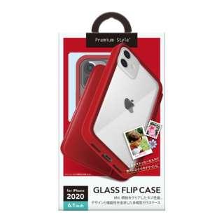 iPhone 12/12 Pro 6.1インチ対応ガラスフリップケース レッド Premium Style レッド PG-20GGF02RD