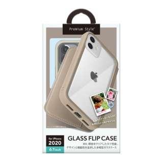 iPhone 12/12 Pro 6.1インチ対応ガラスフリップケース ベージュ Premium Style ベージュ PG-20GGF03BE
