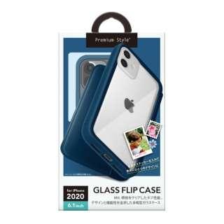 iPhone 12/12 Pro 6.1インチ対応ガラスフリップケース ネイビー Premium Style ネイビー PG-20GGF04NV