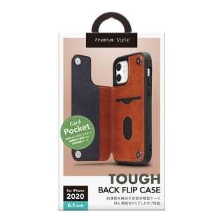 iPhone 12/12 Pro 6.1インチ対応タフバックフリップケース ブラウン Premium Style ブラウン PG-20GPU04BR