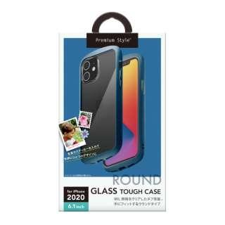 iPhone 12/12 Pro 6.1インチ対応ガラスタフケース ラウンドタイプ ネイビー Premium Style ネイビー PG-20GGT04NV