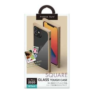 iPhone 12/12 Pro 6.1インチ対応ガラスタフケース スクエアタイプ ベージュ Premium Style ベージュ PG-20GGT07BE