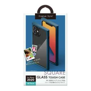 iPhone 12/12 Pro 6.1インチ対応ガラスタフケース スクエアタイプ ネイビー Premium Style ネイビー PG-20GGT08NV