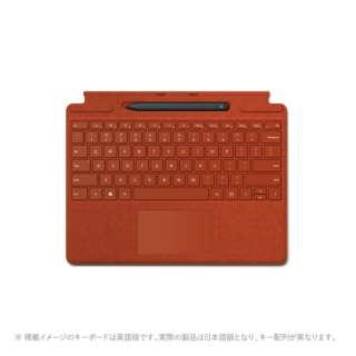 【純正】 Surface Pro X Signature キーボード スリム ペン付き ポピー レッド 25O-00039