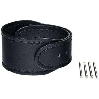 【wena3専用のアクセサリー】wena 3 leather band 24mm Premium Black ブラック WNW-CB2124/B