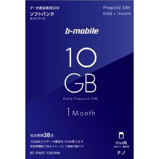 ナノSIM「b-mobile 10GBプリペイド(SB/iPad用ナノ)」 BS-IPAPC-10G1MN