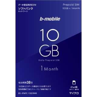 マイクロSIM「b-mobile 10GBプリペイド(SB/iPad用マイクロ)」 BS-IPAPC-10G1MM