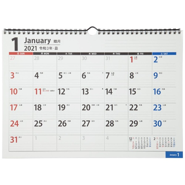 C160 NOLTY(ノルティ) カレンダー2021 壁掛け 67 日曜始まり[2021年1月始まり]