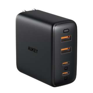 AUKEY(オーキー) USB充電器 Omnia Mix4 100W [USB-A 2ポート/USB-C 2ポート] ブラック PA-B7-BK [4ポート /USB Power Delivery対応 /GaN(窒化ガリウム) 採用]