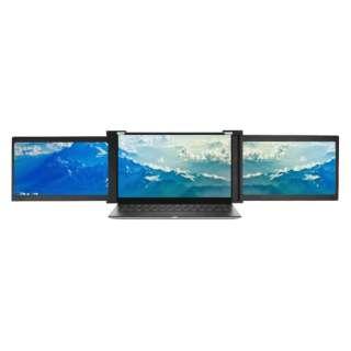 USB-C接続 2画面PCモニター Tri-Screen モバイルモニター ブラック JN-TRI-IPS133FHDR [13.3型 /フルHD(1920×1080) /ワイド]