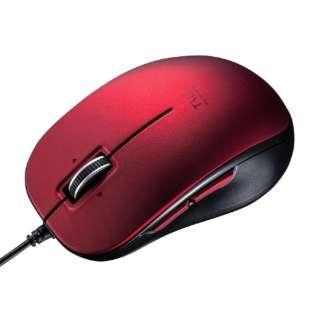 マウス レッド MA-BL191R [BlueLED /有線 /5ボタン /USB]