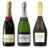 [ジモネの特製グラス付き] 「モエ」&「キャティア」&「ジモネ」のシャンパーニュ飲み比べセット 750ml 3本【ワインセット】
