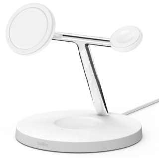 MagSafe急速充電対応 iPhoneapple watch AirPods 同時充電可能 3in1 ワイヤレス充電器 WIZ009dqWH ホワイト ホワイト WIZ009DQWH
