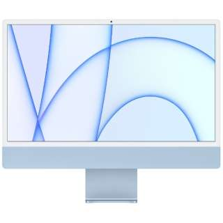 iMac 24インチ  Retina 4.5Kディスプレイモデル[2021年/ SSD 256GB / メモリ 8GB / 8コアCPU / 8コアGPU / Apple M1チップ / ブルー]MGPK3J/A