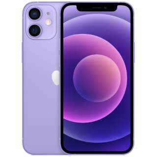 【SIMフリー】iPhone 12 mini A14 Bionic 5.4型ストレージ:128GBデュアルSIM(nano-SIMとeSIM) MJQD3J/Aパープル