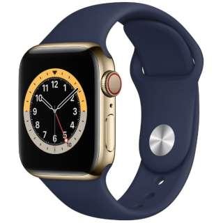 Apple Watch Series 6(GPS + Cellularモデル)- 40mmゴールドステンレススチールケースとディープネイビースポーツバンド